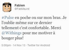 """Fabien (twitter.com/FabMaurel) tweeted: """" #Pulse en poche ou sur mon bras. Je l'oublie même sur ce dernier tellement c'est confortable. Merci Withings pour me motiver à bouger plus! """" En savoir plus : http://www.withings.com/fr/pulse"""