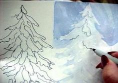 Painting Snow on Evergreens - Watercolor Tips Tutorial /Susie Short Watercolor Pictures, Watercolor Tips, Watercolour Tutorials, Watercolor Techniques, Watercolor Cards, Watercolor Landscape, Watercolor Paintings, Watercolors, Canvas Paintings