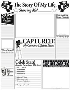 """The Story of My Life"" fill-in poster set - encourage kids' creativity and language skills with this fun, customizable poster set! Includes space for recording fun facts, pastimes and favorites, plus room for pictures and illustrations. Stars Classroom, Future Classroom, School Classroom, Classroom Themes, Movie Classroom, Beginning Of The School Year, First Day Of School, Middle School, Hollywood Theme Classroom"