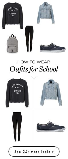 """""""Comfy school day"""" by loriana-somville on Polyvore featuring moda, Topshop, Vans, Rebecca Minkoff ve River Island"""