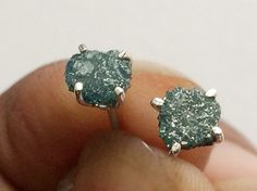 Diamond Studs Blue Rough Diamond Studs Uncut by gemsforjewels