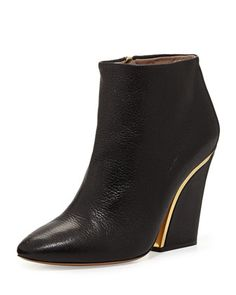 Curved-Heel Leather Ankle Bootie, Black by Chloe at Neiman Marcus.