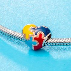 """Puzzle Heart Charm"" Pandora Bracelets, Pandora Charms, Charm Bracelets, Fashion Beads, Puzzle Pieces, Autism Awareness, Heart Charm, Heart Shapes, Charmed"