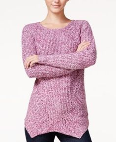 kensie Marled Asymmetrical Sweater - Purple M