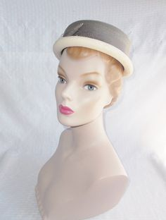 1950's Vintage Gray and White Straw Boater or by MyVintageHatShop