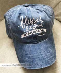 9a1ffaeec85f11 Blessed Beyond Measure - Adjustable Low Profile Vintage Washed Christian Hat,  Baseball Cap