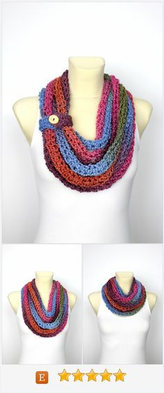 Chunky Knit Scarf - Knit Infinity Scarf - Chunky Shawl - Womens Knit Scarf - Knit Chain Scarf - Multicolor Knit Loop - Rainbow Knit Scarf