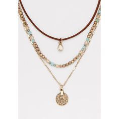 maurices Layered Choker Necklace With Pendant, Women's, ($15) ❤ liked on Polyvore featuring jewelry, necklaces, multi layer necklace, layered necklaces, maurice jewelry, layered choker necklace and double layer necklace