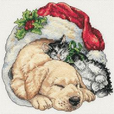 """Gold Collection Petite Christmas Morning Pets Counted Cross -6""""X6"""" 