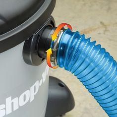 New dust collection shop vac hose kit features a super stretchy hose that extends when you need it to and then collapses small when you want to store it.