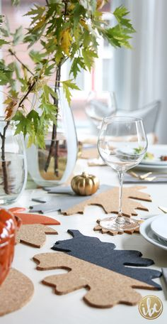 Leaves made out of cork for table runner, coasters, and trivet - fall tables capes