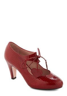 Heart of Bold Heel in Carmine Coil, #ModCloth (These lusty heels will be breaking hearts all over the place)
