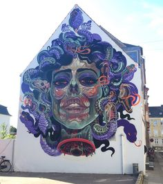 Full wall of the Translucent Medusa i painted in Aalborg (Denmark) this week .  It has totally been a challange to get tranclucent face over the skeleton and still stick to the portrait. Have the feeling i kinda failed on the portrait but shes still beautiful! :) #translucent #nychos #aalborg #serpent #medusa thanks to Mads und Lars of Weaart! #weaart its been a great couple of days! :)
