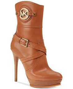 b68ff8e40803 Michael Kors Stockard Booties in Brown (Luggage) - Lyst Shoe Closet