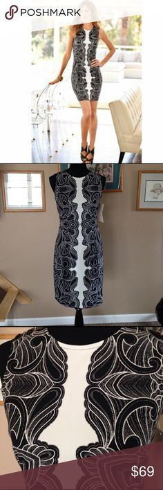 Boston Proper tattoo scroll sheath dress Awesome Boston Proper tattoo scroll sheath dress, black and white with a long back zip. NWT Boston Proper Dresses
