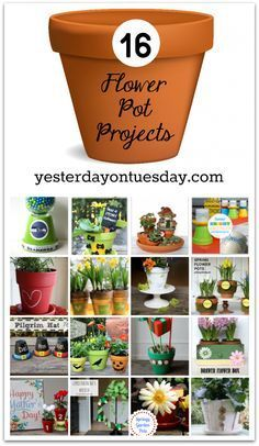 16 Flower Pot Projects for every season! There are tons of great ideas for terra cotta pots in this post-- from tiny to big. Wonderful ideas.