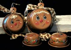 Handpainted vintage measuring cups, Gingerbread decorations from etsy Gingerbread Christmas Decor, Gingerbread Decorations, Gingerbread Ornaments, Xmas Ornaments, Christmas Decorations, Gingerbread Men, Christmas Snowman, Gingerbread Cookies, Winter Christmas