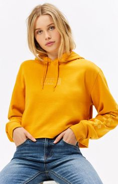 80ff5136f3 Vans Cropped Raw Cut Hoodie - MED Yellow Vans