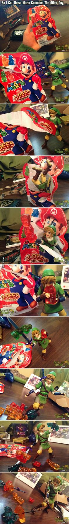 Link and Mario with gummy bears