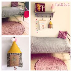 Stoere meidenkamer met geel en roze als accentkleur. #Gehaakt kleed#muziekhanger#tutenjut