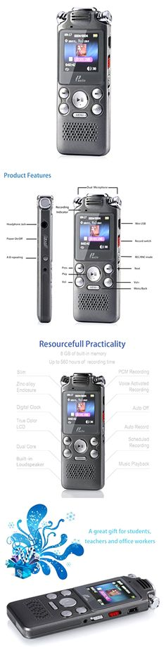 Voice Recorders Dictaphones: Portable Digital Audio Voice Recorder 8Gb Mp3 Dictaphone Rechargeable Grey BUY IT NOW ONLY: $35.86