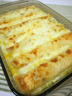 White chicken enchiladas: 8 flour tortillas 2 cups cooked, shredded chicken, 2 cups shredded Monterey Jack cheese 3 Tbsp butter 3 Tbsp flour 2 cups chicken broth 1 cup sour cream 1 (4 oz) can diced green chilies  Preheat oven to 350 degrees.  Spray a 9x13 pan with cooking spray. Mix chicken and 1 cup cheese. Roll up in tortillas and place in pan seam side down.  In a small sauce pan over medium heat, melt butter. Whisk in flour and cook 1 minute. Add broth and whisk until smooth. Allow sauce…