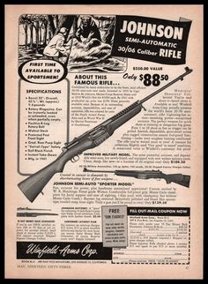 1953 JOHNSON 30 06 Rifle shown w original price Winfield Arms Vintage AD b1cd470eb