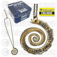 Body Vibe: Doctor Who Wibbly Wobbly Vortex Guld Halskæde Hades, Gold Pendant Necklace, Washer Necklace, Doctor Who Decor, Bracelets, Jewelry Necklaces, Jewellery, Geek Decor, Shops