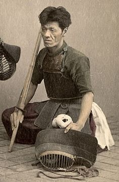 "♂ Japanese martial art Kendo Player, circa 1870's. Kendo (剣道 kendō?), meaning ""Way of The Sword"", is a modern Japanese martial art of sword-fighting descended from traditional swordsmanship (kenjutsu) which originated with the samurai class of feudal Japan. Swordsmen in Japan established schools of kenjutsu (the ancestor of kendo) which continued for centuries and which form the basis of kendo practice today."