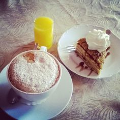 Coffee, orange juice and Marlenka honey cake everyone?