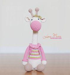 Handmade crochet amigurumi giraffe.. Pink, green, beige. dressed in by LinaMarieDolls