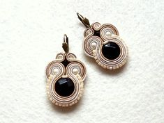 Soutache Earrings Beige Onyx Tiny Glamour! di Soutache4You su DaWanda.com
