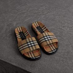 d2170cf2815 Vintage Check Slides in Antique Yellow - Men