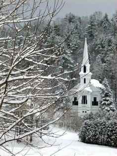 Church in the snow Backroadsliving.com