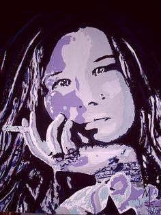 Janis Joplin, Mw Art, Marion Waschk, Kunst, Gemälde, Kunstmalerei, Wanddeko,  Auftragsarbeit, Künstler, Art, Ölbilder, Acrylbilder, Mixed Media,