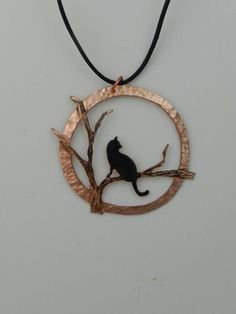 Halloween cat necklace copper cat pendant by ImagesbyKentOlinger
