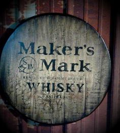 Created on a real authentic Bourbon Whiskey Barrel Top. Not mass produced, all paint, no ink jet, no screen printing, and absolutely no decals. Each sign comes ready to hang with a steel wire Bourbon Barrel, Bourbon Whiskey, Whisky, Paint Maker, Hand Painted Signs, Makers Mark, Liquor, Screen Printing, Wall Decor