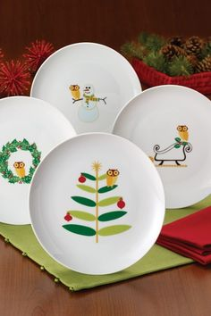 Rachael Ray Holiday Hoot Dessert Plates - Set of 4 - Multi by Christmas Dinnerware From Rachael Ray on @HauteLook