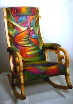 Have a seat.. relax, rock and let your mind wander... up the stairs. Colorful upholstery looks hand painted
