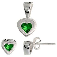 Sterling Silver Mattefinish Heart Earrings 7mm tall  Pendant 13mm tall Set w Princess Cut Emeraldcolored CZ Stones -- Check out this great product.(This is an Amazon affiliate link)