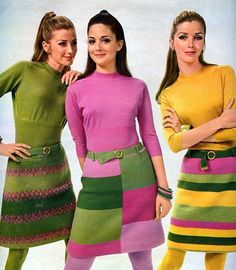 Perfect way to bring color into your fall wardrobe - color block sixties wool skirts and solid turtlenecks pink green yellow - color 60s And 70s Fashion, 60 Fashion, Fashion History, Retro Fashion, Vintage Fashion, Womens Fashion, Fashion Design, Gothic Fashion, Moda Retro