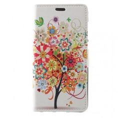 Patterned Printing Magnetic Wallet Leather Phone Cover for Samsung Galaxy - Flowered Tree Android Phone Cases, Iphone Cases, Iphone 11, Apple Iphone, Colorful Fruit, Colorful Flowers, Card Patterns, Print Patterns, Leather Case