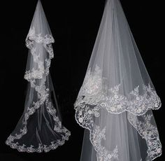 New 1 Layer White wedding Bridal  veil Cathedral Lace Without  Comb 3M