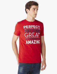 T-shirt imprimé message 100% coton - CEJONES_ROUGE - Vue de face - Celio France