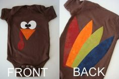 #Thanksgiving Turkey Onsie. #DIY with felt!