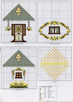 Cross-stitched small houses