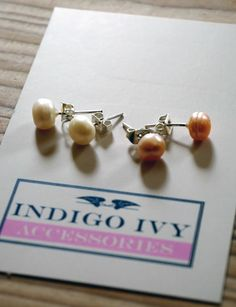 Freshwater Pearl Earrings, white pink and dark pink - Made in the UK £11.20 including delivery > http://www.madecloser.co.uk/jewellery-watches/freshwater-pearl-earrings