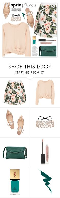 """""""Spring florals"""" by fshionme ❤ liked on Polyvore featuring MANGO, Jimmy Choo, Burberry and Yves Saint Laurent"""