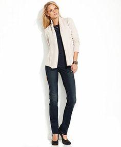 INC International Concepts Shawl-Collar Cardigan, Illusion-Striped Top & Skinny Stretch Jeans