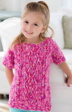 Girl's Crochet Cable Sweater - From Red Heart.com.  Choose a different color and make it for a boy as well.